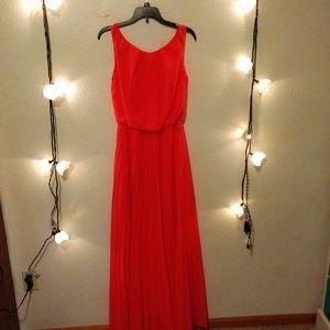 Coral pleated floor length dress